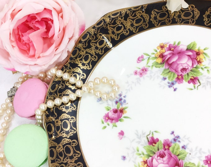 22kt. Gold Imperial English Cake Plate, Floral & Gold Chintz Fine Bone China Serving Plate for Tea Set, Tea Party, Wedding, England #A311