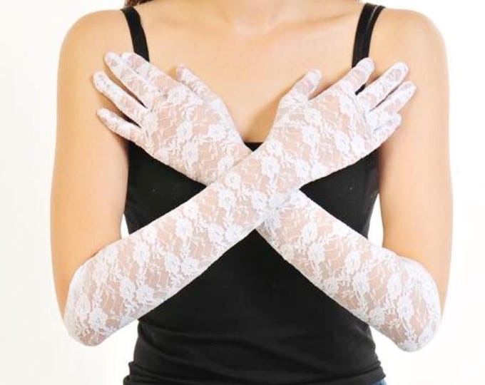 ELBOW Length Ladies White Lace Gloves Perfect for Wedding, White Lace Elbow Gloves for Tea Party, Showers, Prop, Bridesmaid Gift #A881
