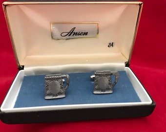 Stein Of Beer FT75 1.6x2cm Pair of Cufflinks Made From Fine English Modern Pewter