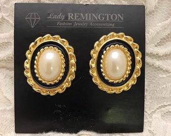 db93b2382 Big Faux Pearl Cabochon Earrings. 1980s Lady Remington. Vintage Posts for  Pierced Ears. Statement Pearl in Fancy Gold Tone Frame and Enamel