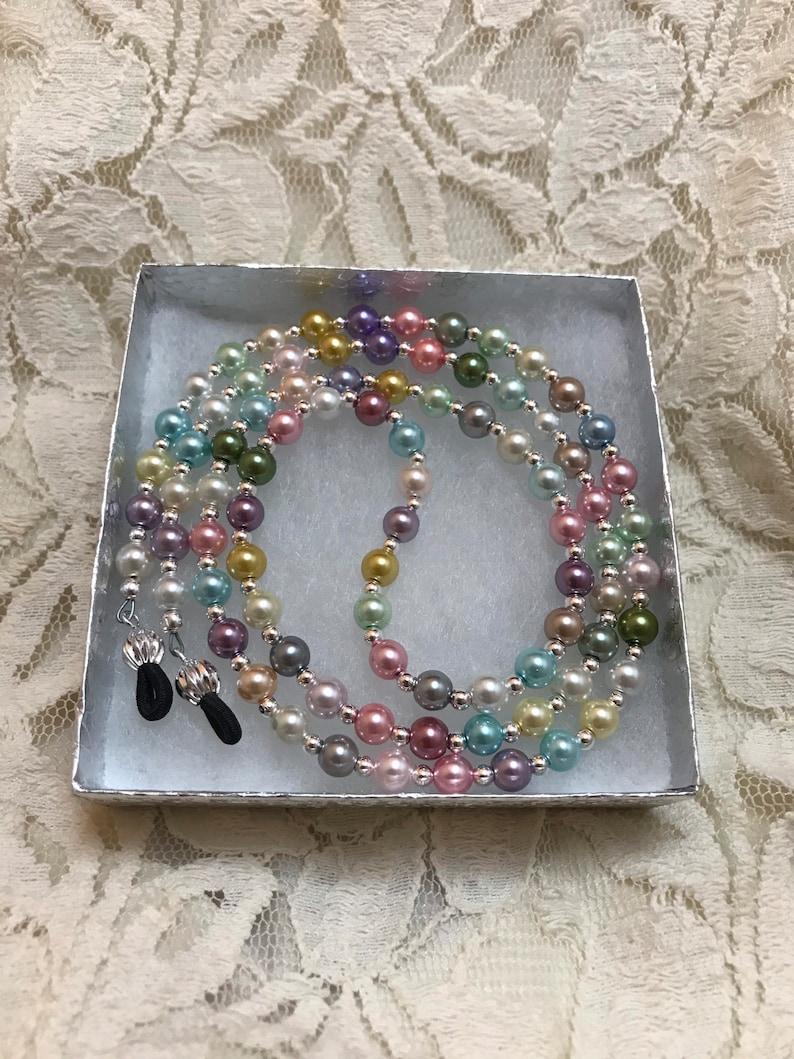 Pearl Eyeglass Chain. Multi Pale Color Women's Glasses image 0