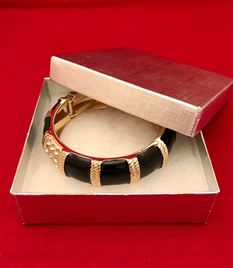 Match Everything Accents Hinged Clamper Bracelet with Rhinestone Crystal Small to Average Wrist Black Enamel Bangle Gift Boxed