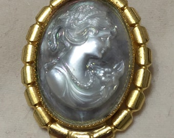 Vintage Small Cameo Brooch. Gold Tone and Blue Cameo Pin. Gift for Bride. Something Old New Borrowed Blue. Ten Dollar Gift. Christmas Gift