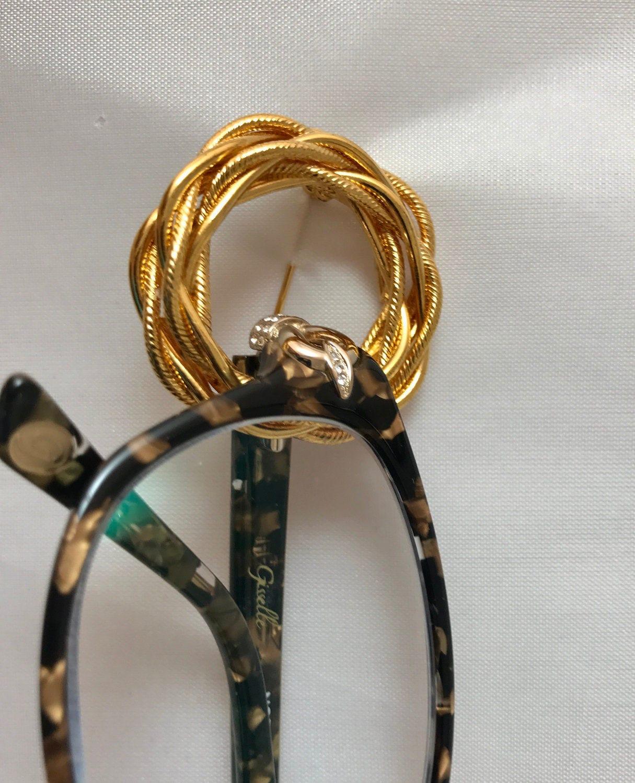 Antique Brooch Pin Eyeglass Holder Gold Finish