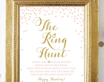 Pink and Gold Bridal Shower Games . Ring Hunt Game . Pink and Gold Bridal Shower . Printable Instant Digital Download . Gold Glitter