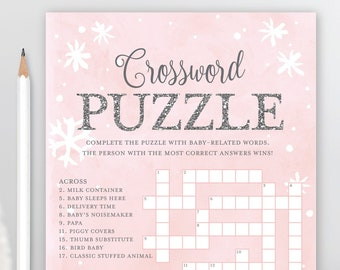Baby Shower Crossword Puzzle Game Its Cold Outside Girl Winter Snowflakes Pink And Silver Printable Instant Download
