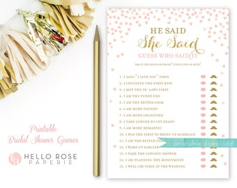 Pink and Gold Bridal Shower Games . He Said She Said Bridal Shower Game . Printable Instant Download . Gold Glitter Pink Confetti Hearts
