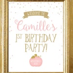 Welcome First Birthday Pumpkin Fall Sign Printable . Little Pumpkin 1st Birthday Party . Pink and Gold . Personalized Digital Download