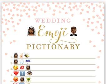 Bridal Shower Emoji . Wedding Emoji Pictionary Game . African American . Pink and Gold . Bridal Shower Printable . Instant Download