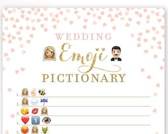 Pink and Gold Bridal Shower Wedding Emoji Pictionary Game . Blonde Bride . Bridal Shower Game Printable . Instant Download . Gold Glitter