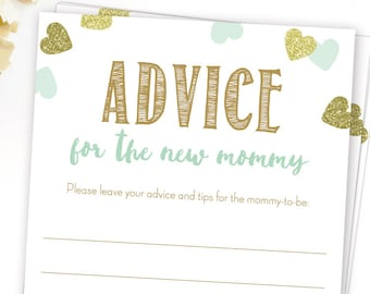 Printable Advice For The New Mommy Cards Blue And Gold Baby Etsy