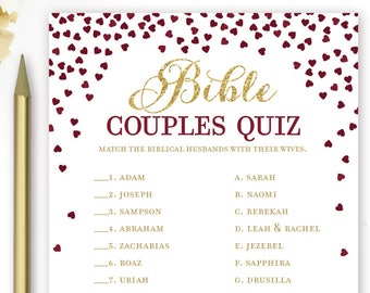 bible couples quiz printable bridal shower game famous biblical couples burgundy and gold bridal shower game instant download game