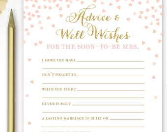 Pink and Gold Bridal Shower Advice and Well Wishes for the Soon to be Mrs Cards . Bridal Shower Games Printable Instant Download