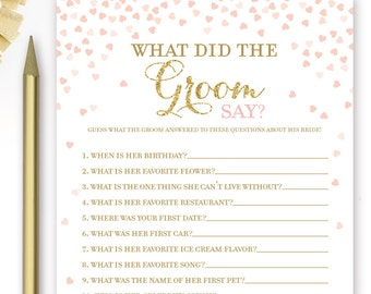 What Did the Groom Say About His Bride Game . Pink and Gold Bridal Shower Game . Printable Instant Download Game . Gold Glitter Pink Hearts