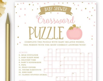 Baby Shower Crossword Puzzle Game Pumpkin Pink And Gold Printable Instant Digital Download