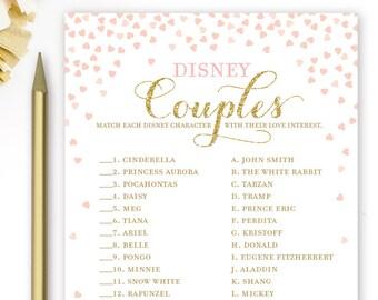 Pink and Gold Bridal Shower Games . Disney Couples Bridal Shower Game . Printable Instant Download . Gold Glitter Pink . Disney Theme Shower