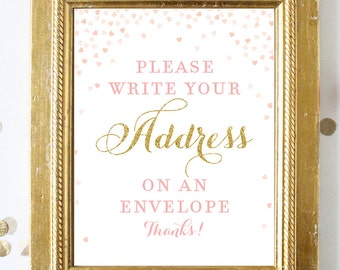 pink and gold please write your address on an envelope printable sign 8x10 pink and gold bridal shower signs digital instant download