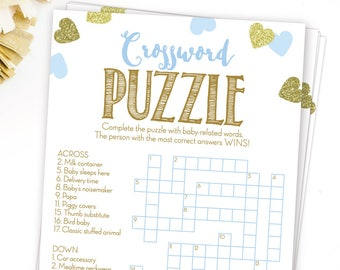 Baby Shower Crossword Puzzle Game Blue And Gold Printable Instant Digital Download Boy Games Glitter Hearts Confetti