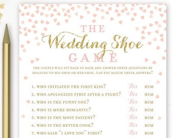 the wedding shoe game bridal shower wedding shower engagement party couples shower pink and gold printable instant download