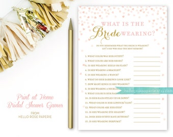 what is the bride wearing bridal shower game pink and gold printable instant download bridal shower game gold glitter pink hearts