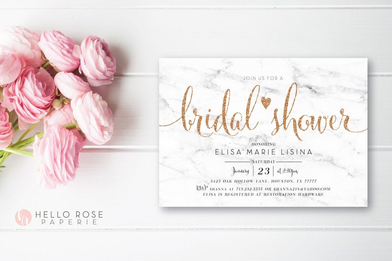 picture regarding Printable Bridal Shower Invitations known as Printable Bridal Shower Invitation . White Marble Marriage ceremony Shower Invitation . Electronic Down load . Gold Leaf Rose Gold Glitter Terms and Marble