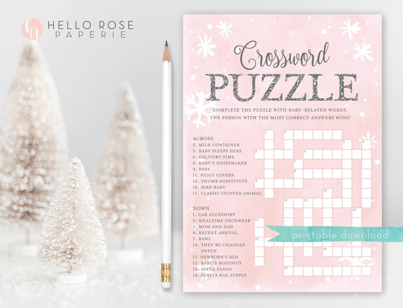 Baby Shower Crossword Puzzle Game Baby It S Cold Outside Etsy