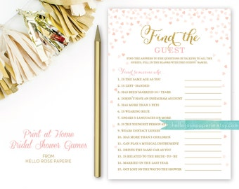 Pink and Gold Bridal Shower Games . Find the Guest Game . Bridal Shower Games Printable Instant Download . Glitter Confetti Hearts