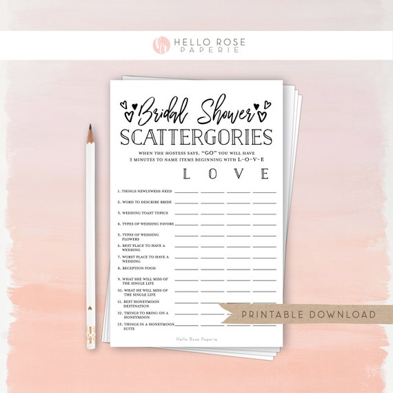 picture relating to Scattergories Printable referred to as Bridal Shower Scattergories . Printable Bridal Shower Sport . Rustic Kraft As well as Black and White . Marriage ceremony Shower . Prompt Electronic Down load
