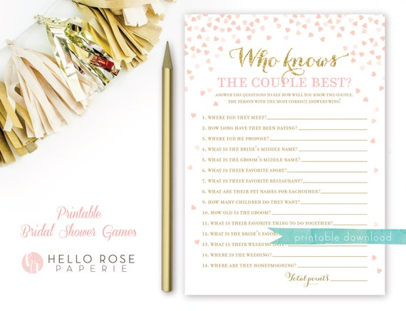 Who Knows The Couple Best Pink And Gold Bridal Shower Game Etsy