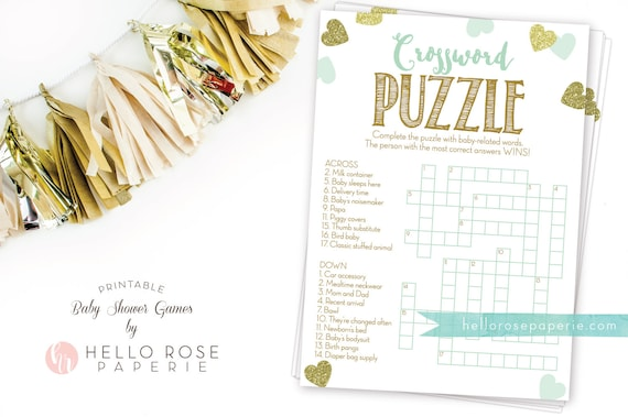 Baby Shower Crossword Puzzle Game Mint And Gold Printable Etsy