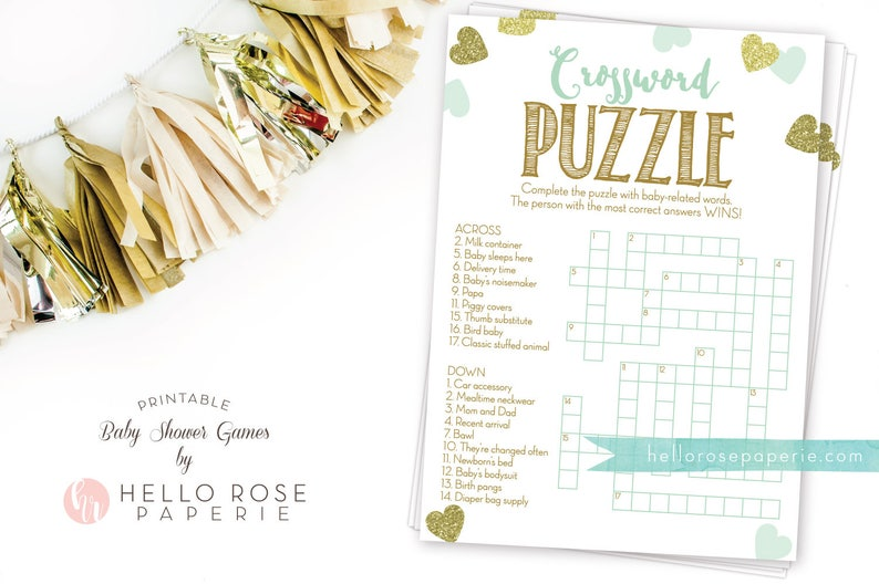 Baby Shower Crossword Puzzle Game   Mint and Gold   Printable Instant  Digital Download   Baby Shower Games   Girl Boy Twins Gender Neutral