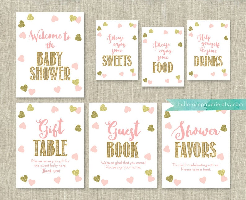 44fdde1f486bd Pink and Gold Baby Shower Signs Package Bundle 7 Table Signs . Pink Baby  Shower Decorations . Printable Instant Download . Baby Girl Shower