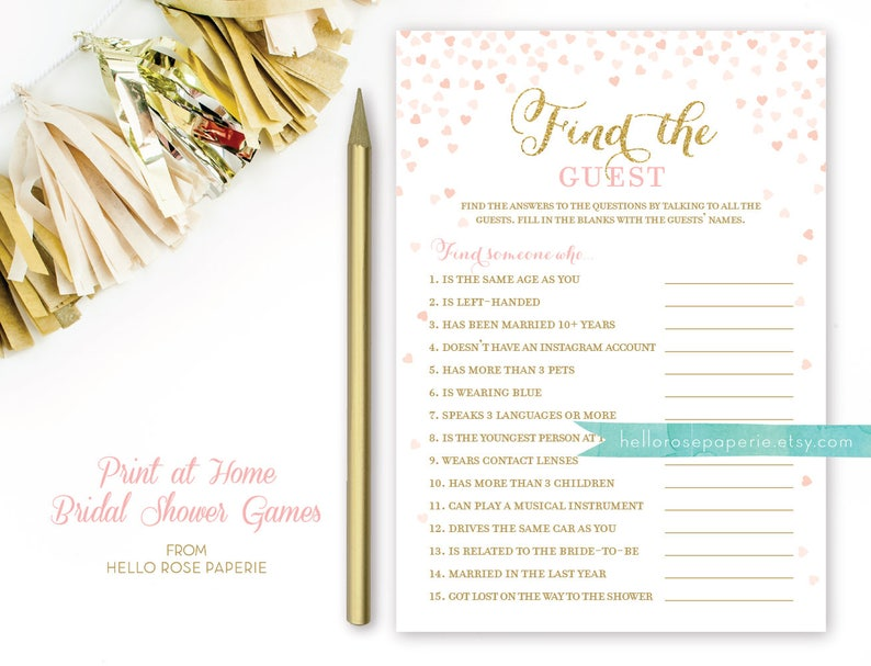 Celebrity Couples Quiz   Famous Couples Bridal Shower Game   Pink and Gold  Bridal Shower   Blush Pink and Gold   DIY Printable Download