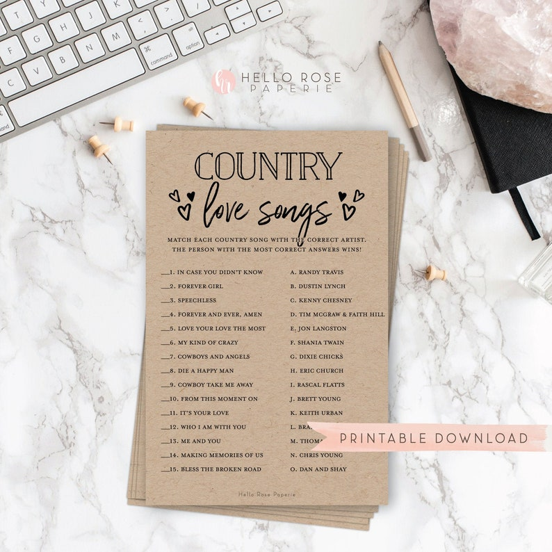 Country Love Songs Trivia Game . Rustic Bridal Shower image 0