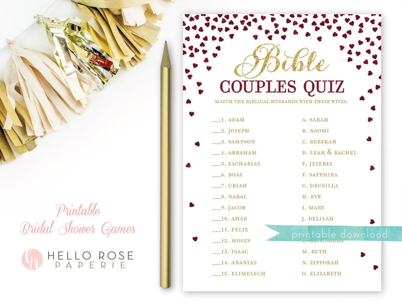 graphic relating to Printable Bible Quiz titled Bible Partners Quiz . Printable Bridal Shower Match . Renowned Biblical Partners . Burgundy and Gold Bridal Shower Recreation . Prompt Down load Match