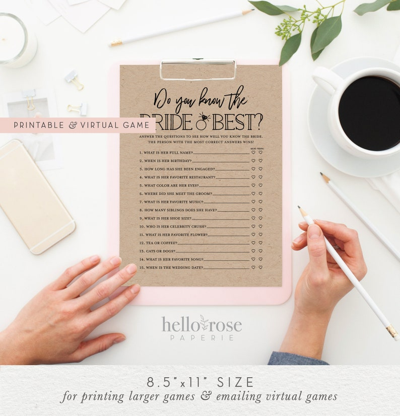 Do You Know the Bride Best . Virtual  Printable Bridal image 0
