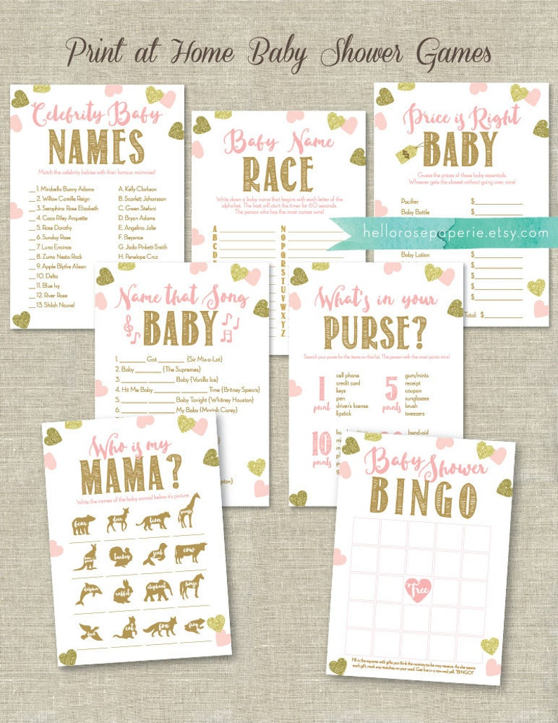 64a3efdccb94d Pink and Gold Baby Shower Games Printable Set . Bundle 7 Games | Etsy