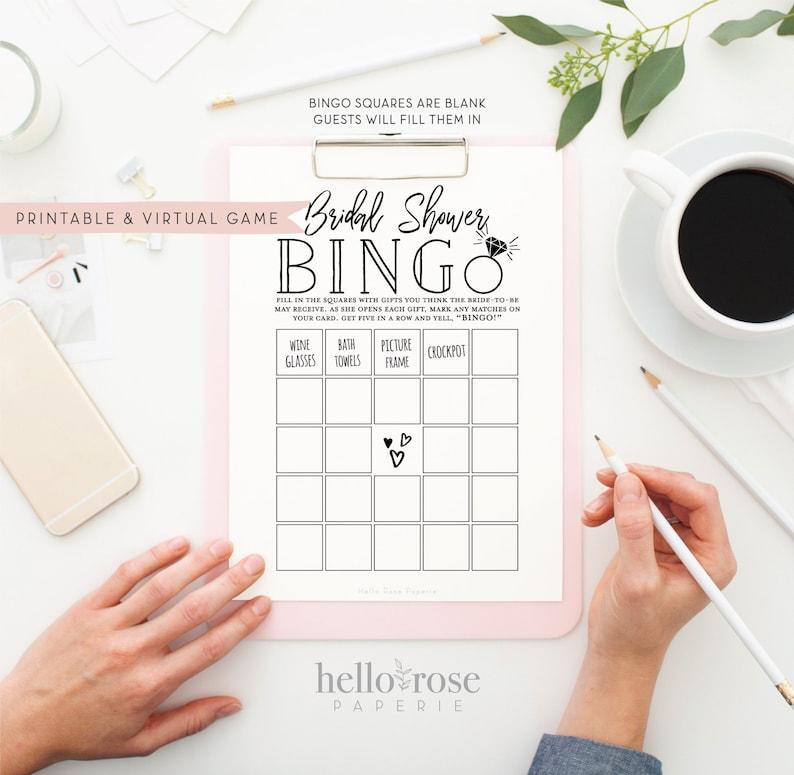 Bridal Shower Bingo . Virtual  Printable Shower Gifts Game . image 0