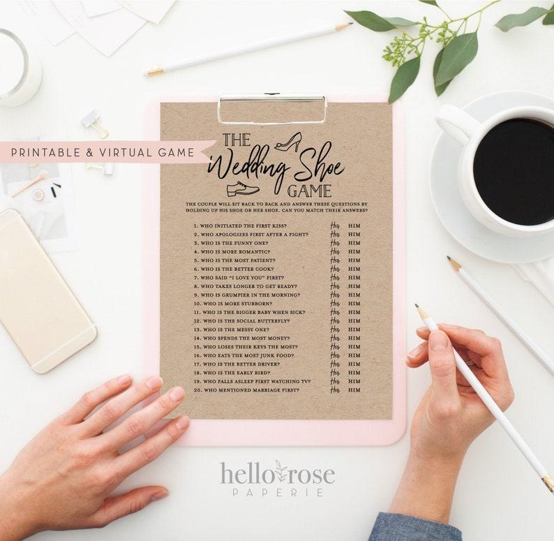 The Wedding Shoe Game . Virtual  Printable Bridal Wedding image 0