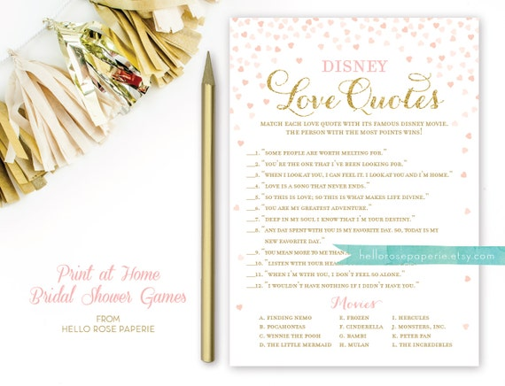 Disney love quotes bridal shower game disney movie quotes etsy image 0 stopboris Image collections