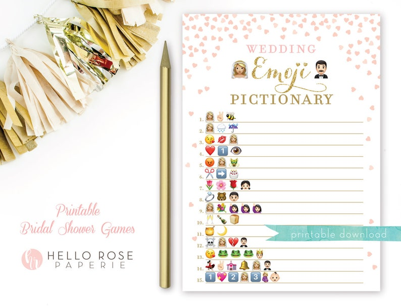 photo relating to Bridal Shower Printable Games named Emoji Sport Bridal Shower Printable . Blonde Bride Brunette Groom . Crimson and Gold . Wedding day Emoji Pictionary . Printable Quick Obtain