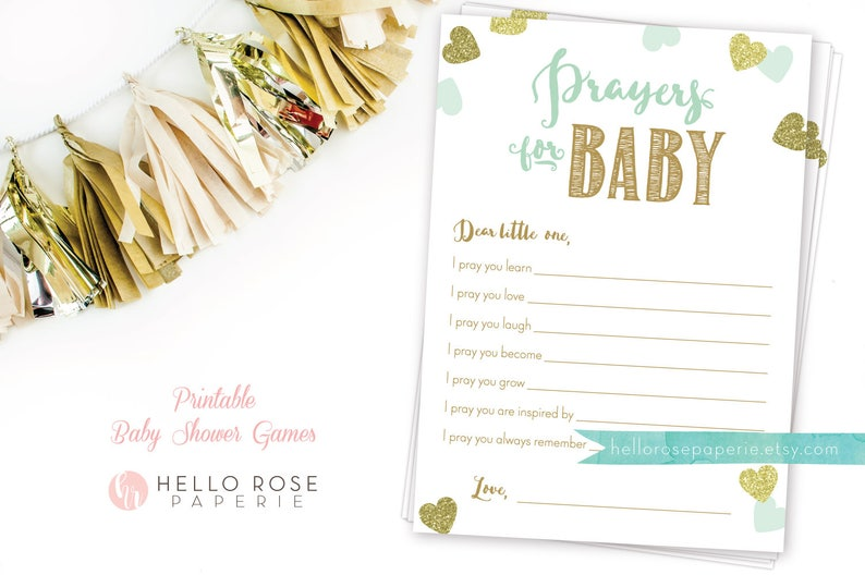 Prayers for Baby   Baby Prayers Card   Mint and Gold Baby Shower Printable    Instant Download   Girl Boy Twins Shower   Baby Shower Games