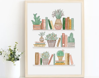 Potted Plants and Bookshelf Art Print / Library Art Print / Succulents Art / Book Lover Gift / Plant Lover Gift