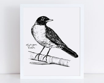 Michigan Robin State Bird Art Print /  Michigan Decor / Robin Drawing / Michigan Gift / Black and White Bird Drawing