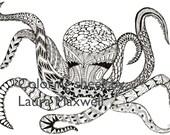 Items Op Etsy Die Op Koninklijke Octopus Kleurplaat Voor Volwassenen