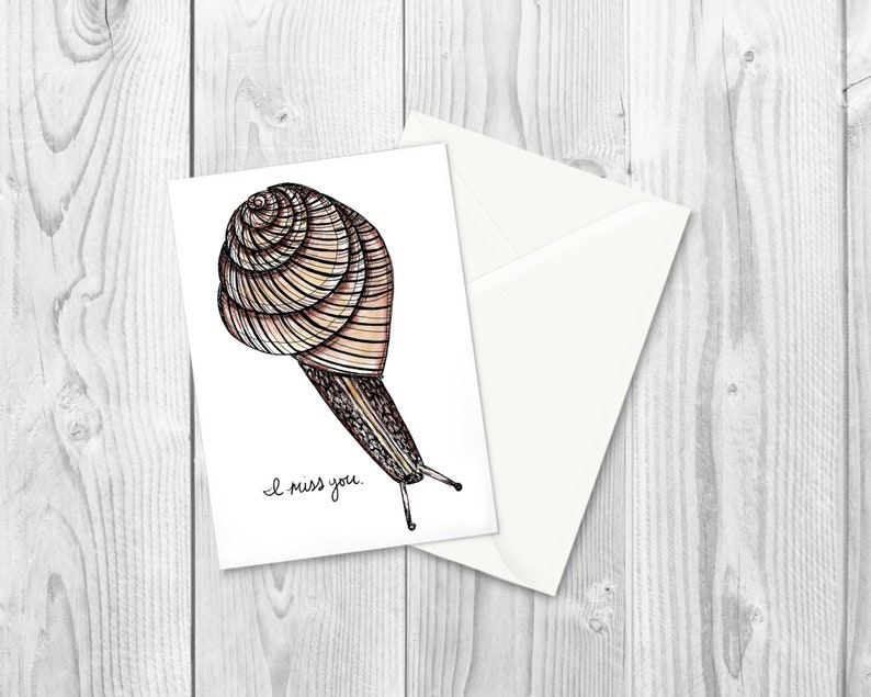 I Miss You Snail Greeting Card / Blank Note Card / Cute Snail image 1