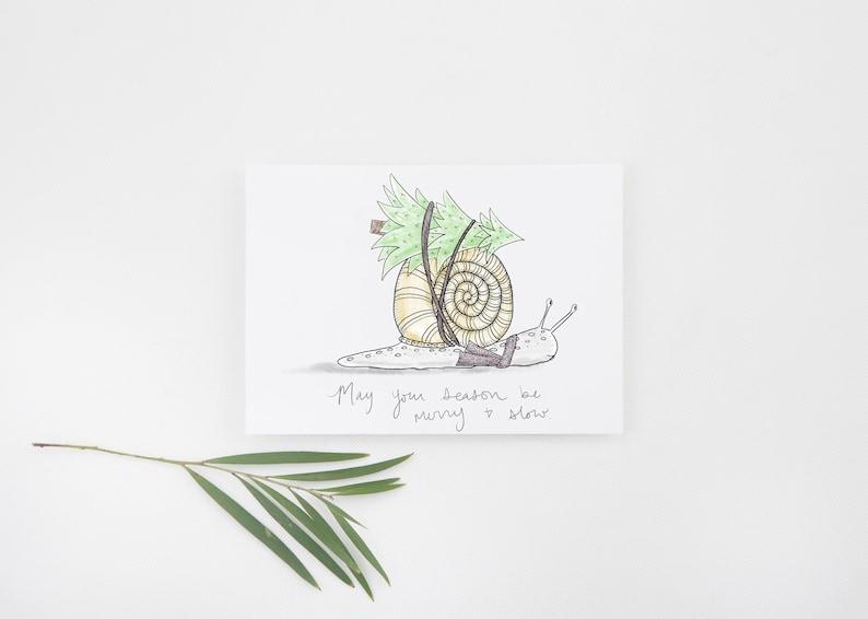Christmas Snail Greeting Card / Cute Snail Holiday Card / image 1