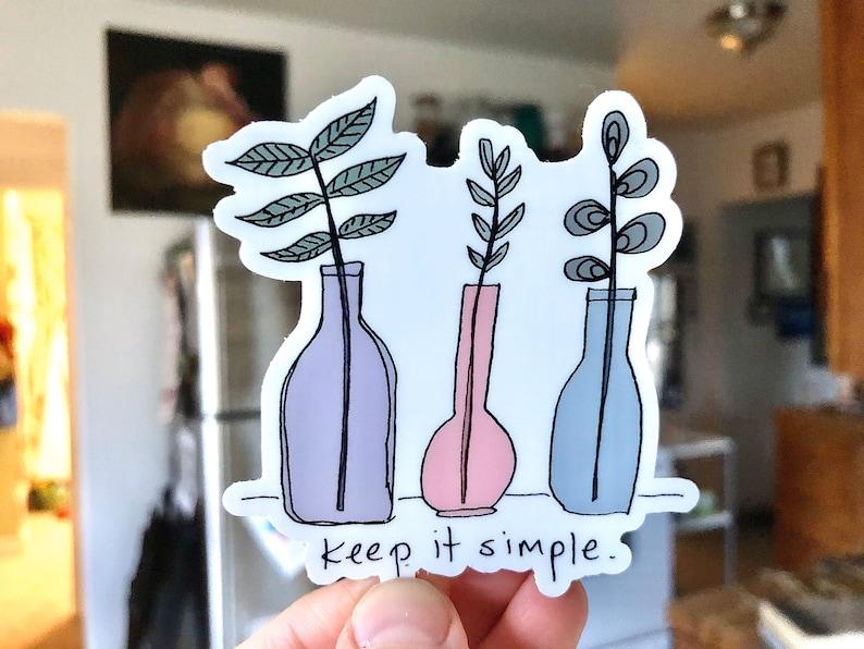 Keep it Simple Sticker / Plants in Bottles Sticker  / Cute image 0