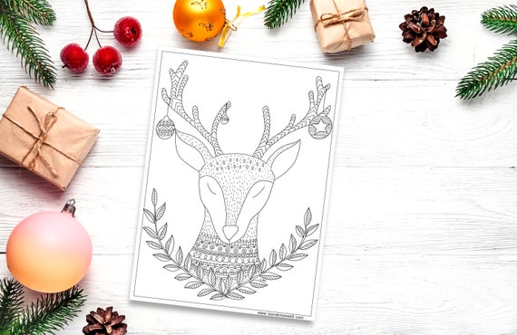 Christmas Reindeer Coloring Sheet for Adults and Kids