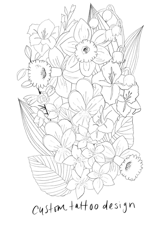Custom Floral Tattoo Design Deposit / Botanical Tattoo Design image 0